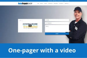 Screenshot of One-pager website with promo video